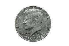 相当半元美国价值的美国老硬币与约翰・肯尼迪画象 极端接近的宏观射击 查出在白色 免版税库存照片