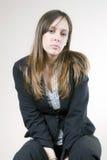 相当哀伤的认为的妇女年轻人 图库摄影