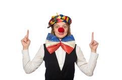 相当在白色隔绝的女性小丑 免版税库存图片