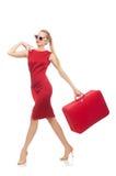 相当在白色隔绝的红色礼服的少妇 免版税图库摄影