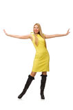 相当在白色隔绝的黄色礼服的公平的女孩 免版税图库摄影