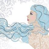 相当外形视图的少妇画象与长的美丽的头发 库存照片
