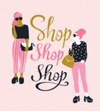 相当太阳镜的少妇有字法`商店商店商店`的 也corel凹道例证向量 皇族释放例证