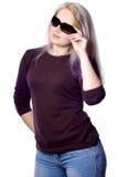 相当女孩头发紫罗兰 免版税库存图片