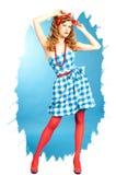 相当女孩的性感的红头发人Pin 库存图片