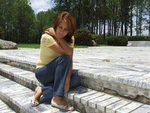 相当思考的女孩 图库摄影