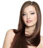 相当性感女孩头发长的纵向 免版税库存图片