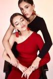 相当性感的两夫人时装模特儿魅力样式美丽的妇女 图库摄影
