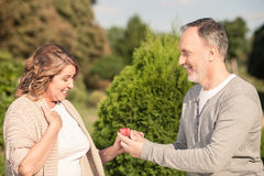相当成熟已婚夫妇在公园约会 免版税库存照片