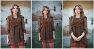 相当摆在农场前面的少妇。非常有棕色短的礼服的可爱的白肤金发的女孩。浪漫少妇摆在 免版税库存图片