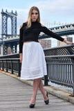 相当摆在有曼哈顿桥梁的码头的有吸引力的白肤金发的时装模特儿在背景 库存图片