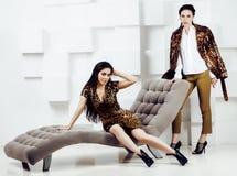 相当时尚礼服的时髦的妇女有豹子印刷品togethe的 库存照片
