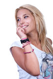 相当有噪声圆环的白肤金发的青少年的女孩 免版税图库摄影
