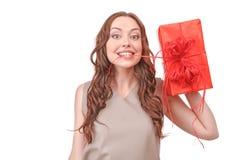 相当有大礼物的红发妇女 库存照片