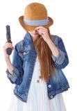 相当有帽子开会的女孩 免版税图库摄影