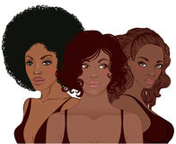 相当有时髦的理发的年轻非裔美国人的妇女 库存例证