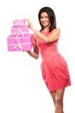 相当有箱子礼物的混合的族种女孩 圣诞节 库存图片