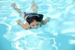 相当游泳池的女孩 免版税库存图片