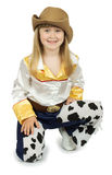 相当牛仔服装的小女孩在白色背景 图库摄影