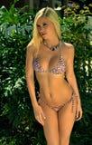相当白肤金发的女孩佩带的比基尼泳装 库存照片