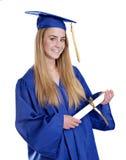 相当白肤金发的文凭女孩 免版税图库摄影
