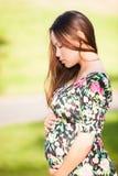相当看在美好的绿色公园背景中崇拜的少妇她怀孕的胃下 图库摄影