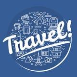 相当稀薄的线传染媒介与旅行象标志的例证cirle 免版税库存图片