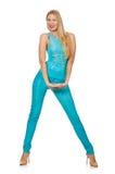 相当蓝色裤子和衬衣的白肤金发的妇女 免版税图库摄影