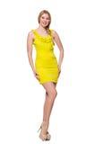 相当被隔绝的短的黄色礼服的高妇女 免版税图库摄影