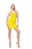 相当被隔绝的短的黄色礼服的高妇女 图库摄影