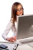 相当计算机女孩工作 库存图片
