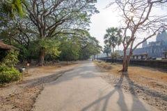 相当围场在日落的吴哥窟,吴哥窟,暹粒,柬埔寨 库存照片
