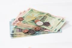 相当100, 10和1罗马尼亚人列伊价值的几张钞票与相当10和5罗马尼亚语在白色背景隔绝的巴尼价值的几枚硬币 免版税图库摄影