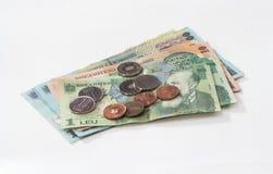 相当100, 10和1罗马尼亚人列伊价值的几张钞票与相当10和5罗马尼亚语在白色背景隔绝的巴尼价值的几枚硬币 图库摄影