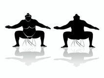 相扑摔跤手,传染媒介凹道剪影  免版税库存图片