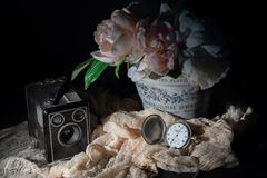 相机盒、表链手表和花减速火箭的对象  免版税库存照片