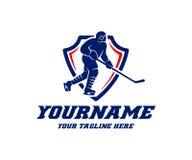 盾、戏剧曲棍球和体育的,商标设计曲棍球运动员 曲棍球冠军和比赛,曲棍球职业体育分类 皇族释放例证