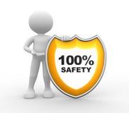 盾。100%安全 向量例证