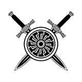 盾和剑黑白色象 库存图片