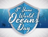 盾和水下的标签与海洋动物区系海洋的天,传染媒介例证 库存照片