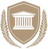 盾的象法院大楼 3d概念图象查出的保护白色 库存照片