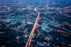 省高速公路66航拍在晚上 库存图片