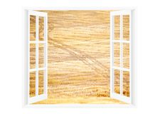 看一个开窗口对晴朗的乡下环境美化 免版税库存照片