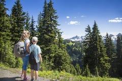 看一个风景看法的山的远足者 免版税库存图片