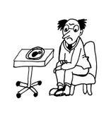 看一条炸鸡腿的饮食的一个人坐在椅子等高讽刺画可笑的例证 向量例证