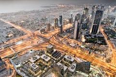 看下来从Burj哈利法,迪拜,阿拉伯联合酋长国 免版税库存照片