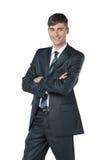 看与reliabil的友好和微笑的商人照相机 免版税图库摄影