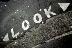 看两个方式行人交叉路标志 库存照片