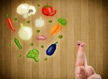 看五颜六色的健康菜的例证的愉快的兴高采烈的面孔手指 免版税库存图片