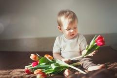 看五颜六色的郁金香一个逗人喜爱的小男孩的画象 在框架的太阳强光 温暖的色彩设计 免版税库存图片